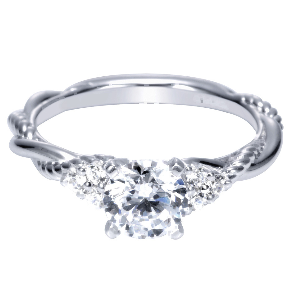 14k white gold contemporary criss cross engagement ring